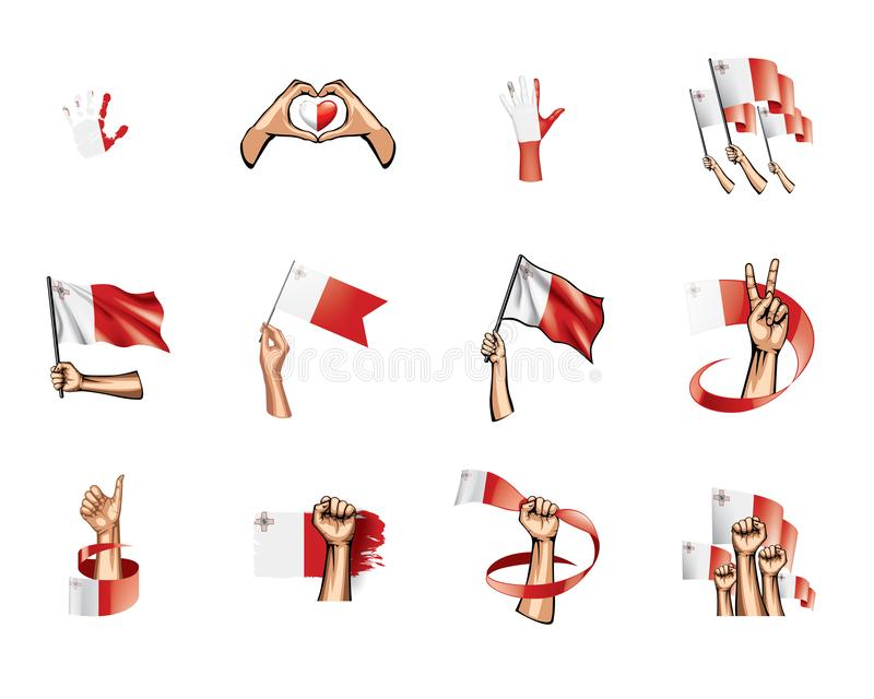 Malta flag and hand on white background. Vector illustration royalty free illustration