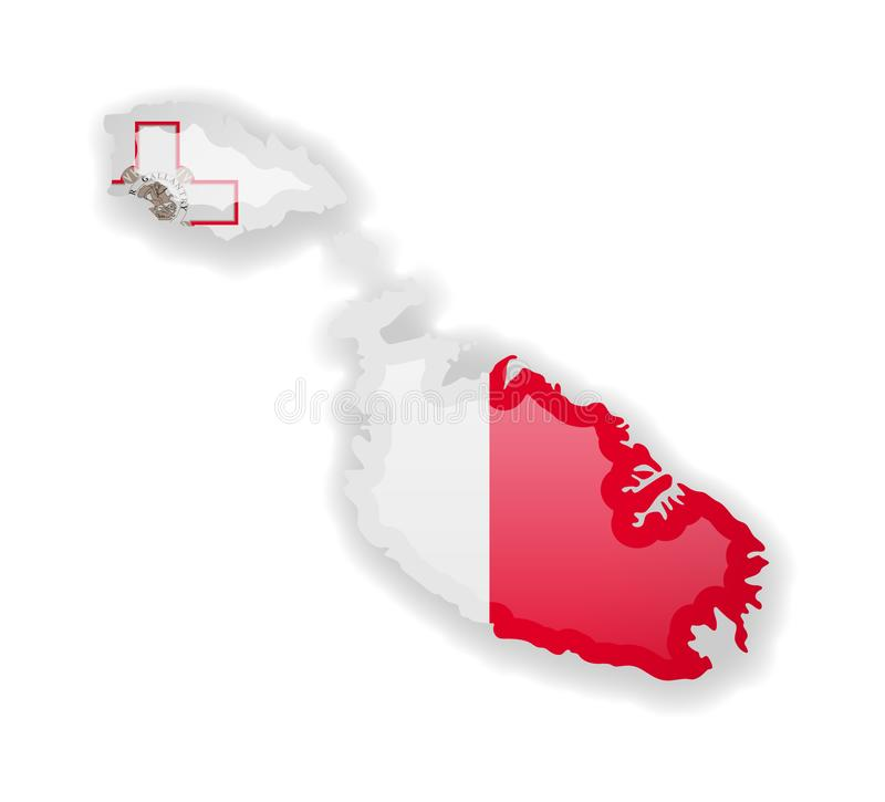 Malta flag and outline of the country on a white background royalty free illustration