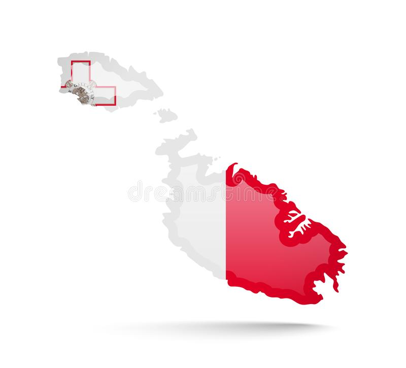 Malta flag and outline of the country on a white background stock illustration