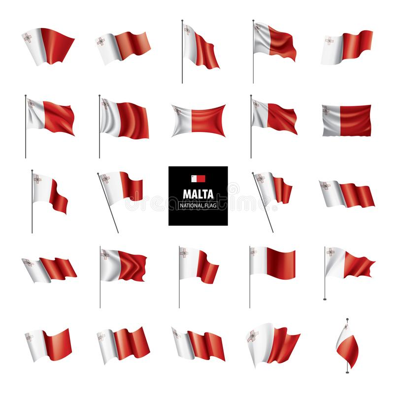 Malta flag, vector illustration on a white background vector illustration
