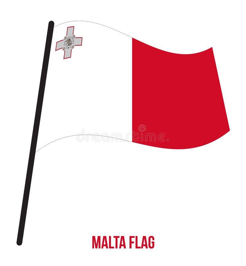 Malta Flag Waving Vector Illustration on White Background. Malta National Flag. stock illustration