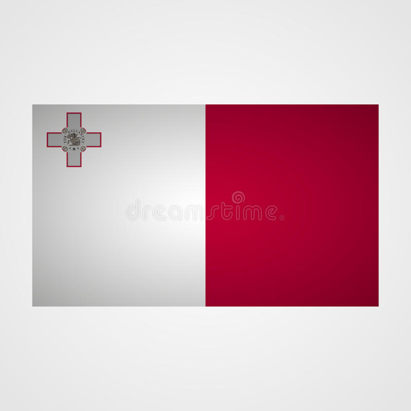 Malta flagga på en grå bakgrund också vektor för coreldrawillustration royaltyfri illustrationer