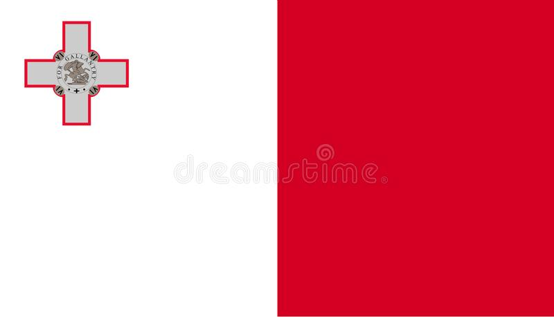 Malta flaggasymbol i plan stil Nationell teckenvektorillustration Klok aff?rsid? royaltyfri illustrationer