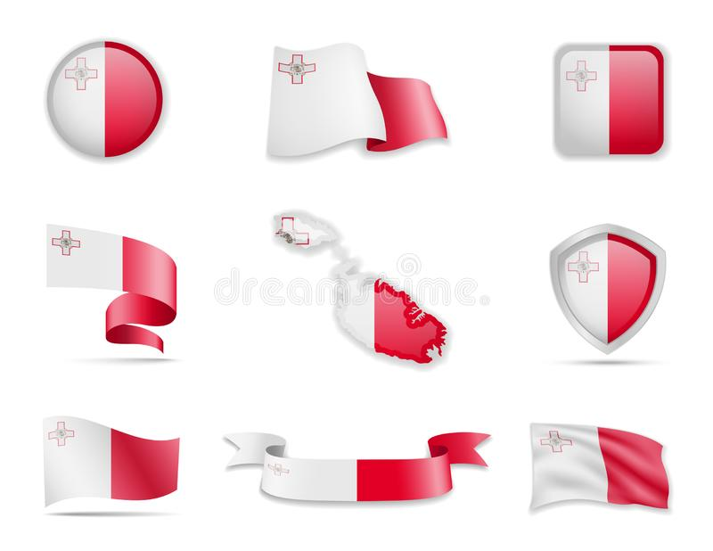 Malta flags collection. Vector illustration set flags and outline of the country vector illustration