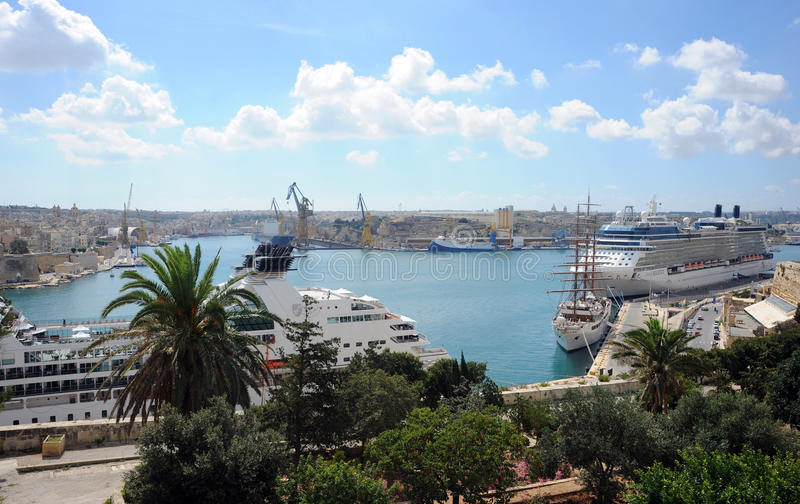 Malta, Grand Harbour and cruise ships stock photography