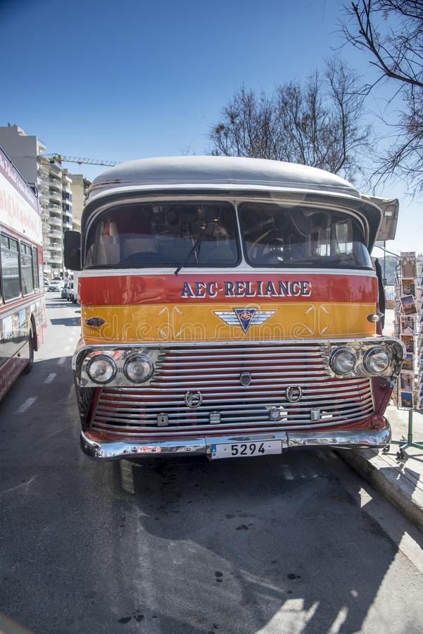 AEC Reliance bus Sliema Harbour Malta royalty free stock image