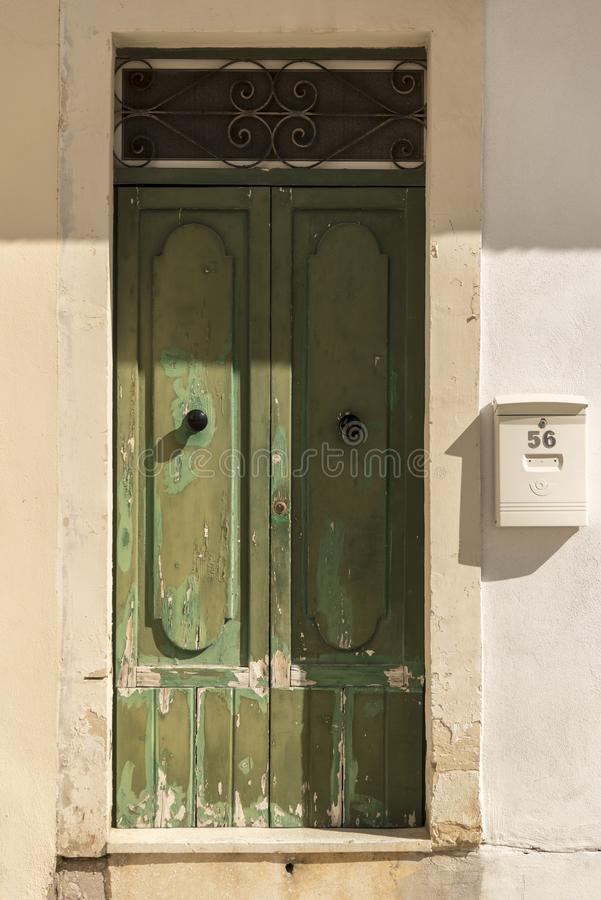 Doorway on a street near Gillieru Harbour Malta. Malta is an archipelago in the central Mediterranean between Sicily and the North African coast. It`s a nation royalty free stock photo