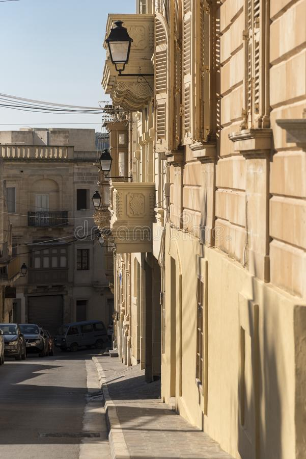 Malta Holiday 12-19 Feb 2019. Street up to the  Citadel Victoria Gozo. Victoria also known as Rabat is the capital of Gozo Island, in Malta. It's known royalty free stock photos