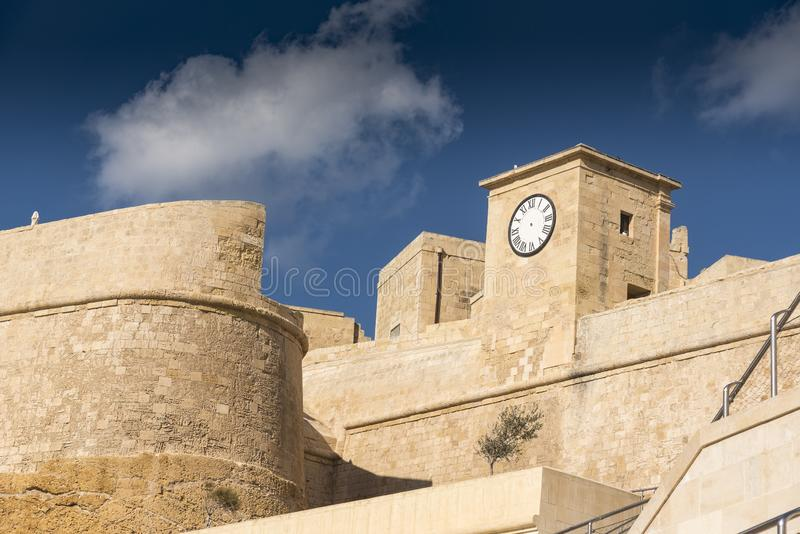 The walls and clock of the Citadel Victoria Gozo. Victoria also known as Rabat is the capital of Gozo Island, in Malta. It's known for its medieval royalty free stock image