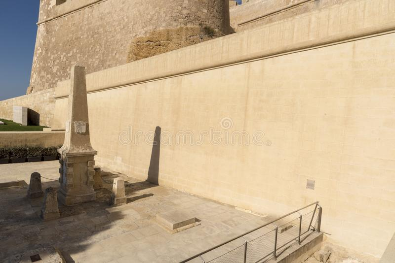 The walls and memorial of the Citadel Victoria Gozo. Victoria also known as Rabat is the capital of Gozo Island, in Malta. It's known for its medieval royalty free stock image