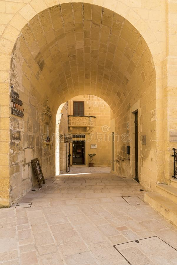 Arched passage in the Citadel Victoria Gozo. Victoria also known as Rabat is the capital of Gozo Island, in Malta. It's known for its medieval Citadel royalty free stock image