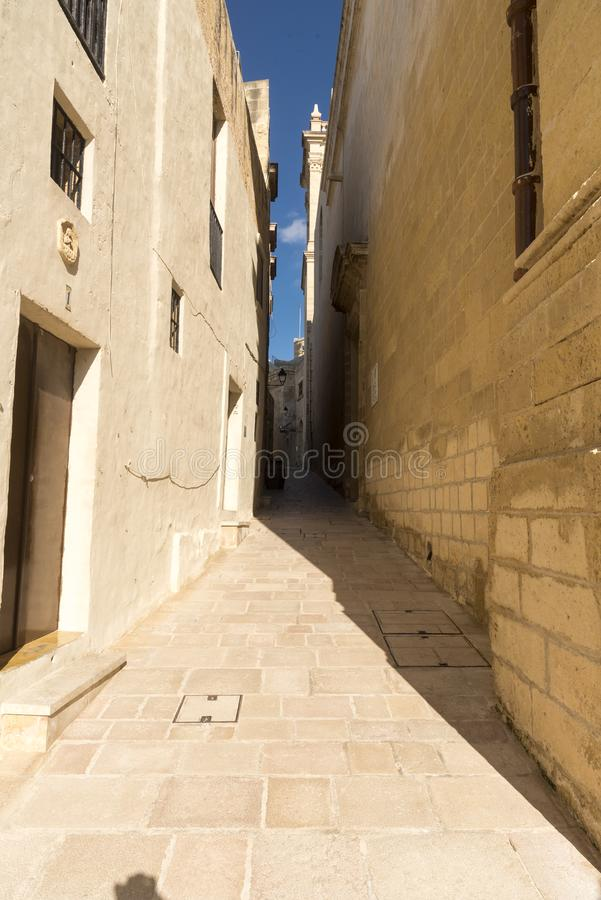 Side street inside the Citadel in Victoria Gozo. Victoria also known as Rabat is the capital of Gozo Island, in Malta. It's known for its medieval stock image