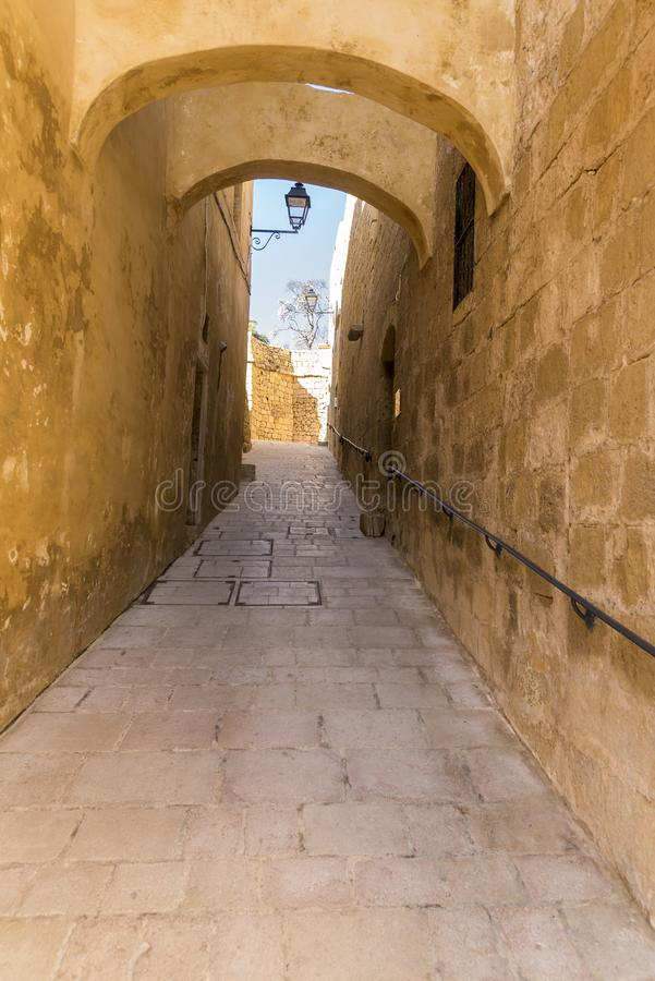 Buttressed street inside the Citadel in Victoria Gozo. Victoria also known as Rabat is the capital of Gozo Island, in Malta. It's known for its medieval stock images