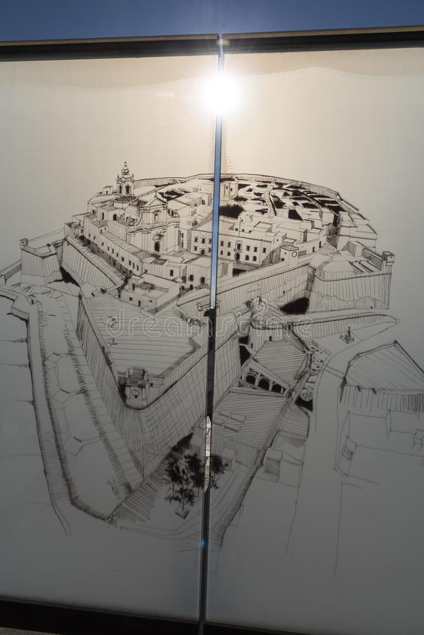 Etched glass map of the Citadel of Victoria Gozo Malta. The Cittadella also known as the Castello is the citadel of Victoria on the island of Gozo, Malta. The stock image