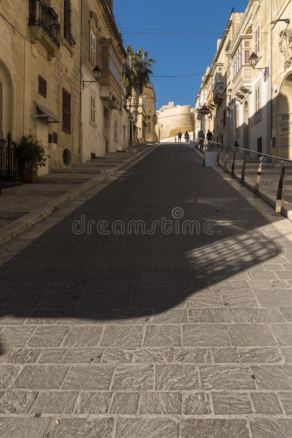 Street up to the Citadel Victoria Gozo. Victoria also known as Rabat is the capital of Gozo Island, in Malta. It's known for its medieval Citadel, with stock image