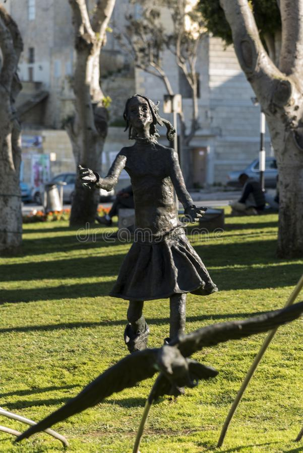 Modern statue in Victoria Playground Victoria Gozo royalty free stock photography