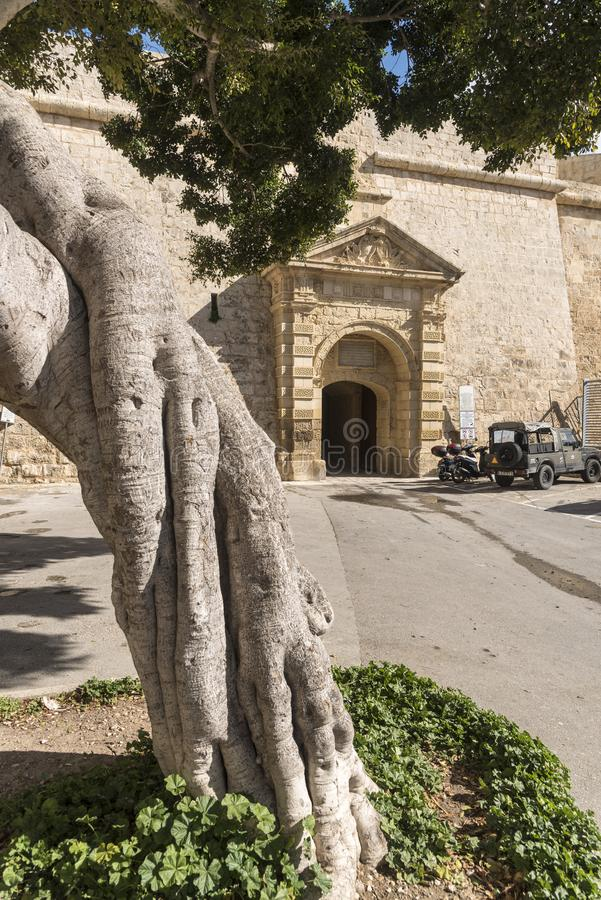 Greeks gate entrance to the old city of Mdina Malta. Mdina, also known by its titles Città Vecchia or Città Notabile, is a fortified city in the Northern royalty free stock photo