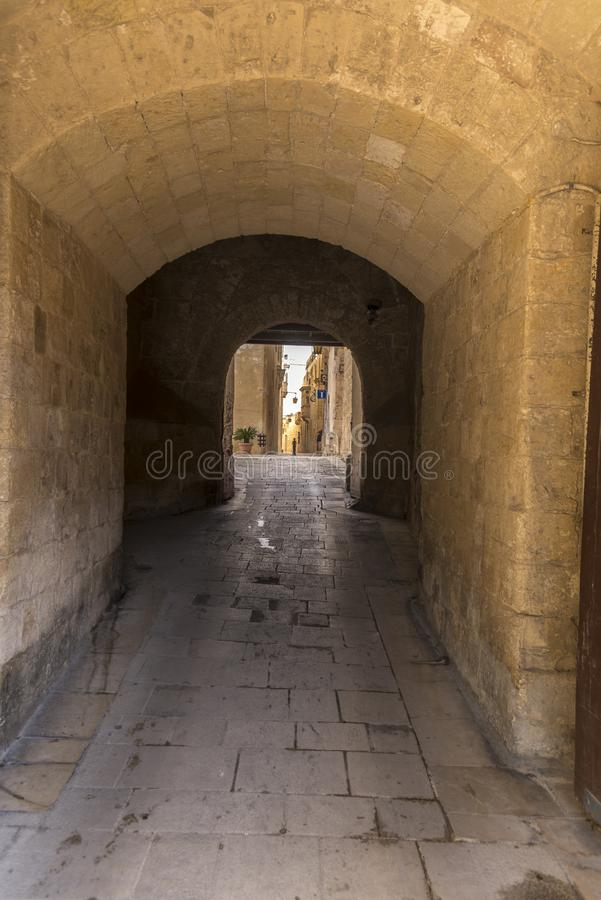 Greeks gate entrance to the old city of Mdina Malta. Mdina, also known by its titles Città Vecchia or Città Notabile, is a fortified city in the Northern stock image