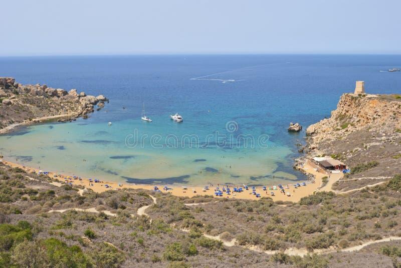 Malta Island - Ghajn Tuffieha Bay, panoramic view royalty free stock photo