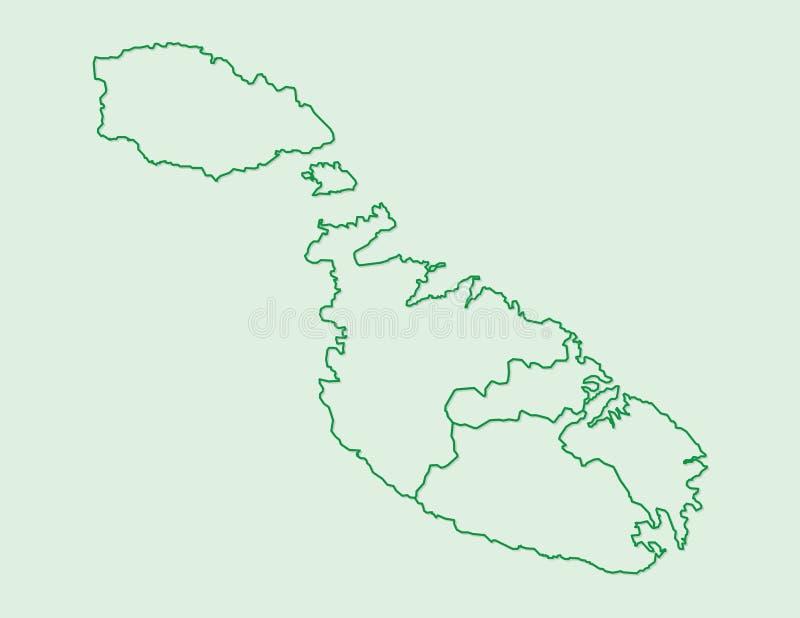 Malta-Kartenvektor mit Regionen oder Bezirke unter Verwendung der Grenzen der Grünen Grenze auf hellem Hintergrund lizenzfreie abbildung