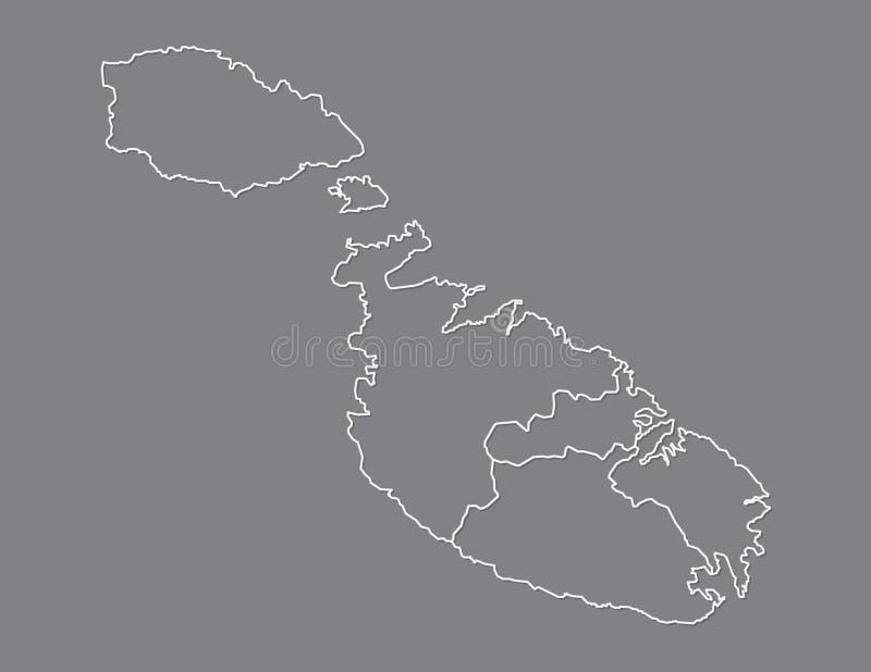 Malta-Kartenvektor mit Regionen oder Bezirke unter Verwendung der weißen Linie Grenzen auf dunklem Hintergrund vektor abbildung