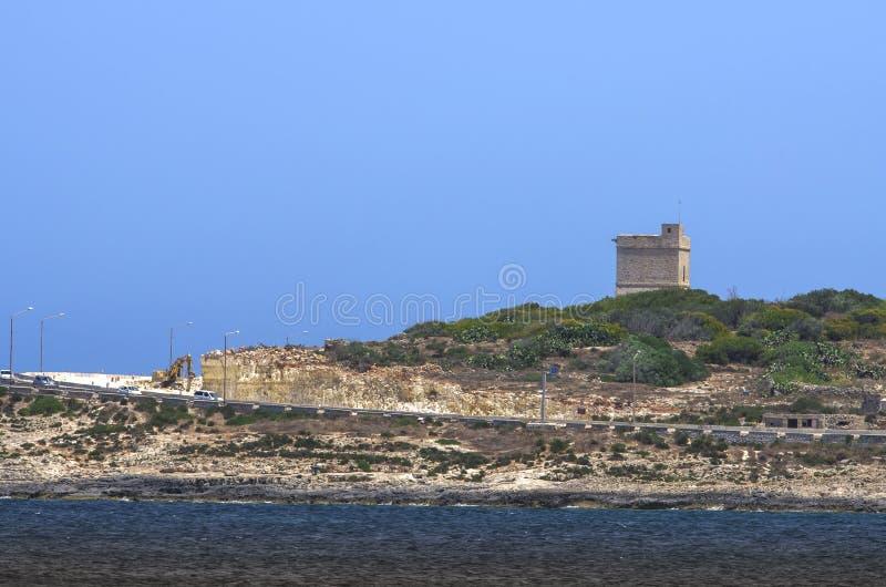 Malta kustlinjesikt arkivfoto