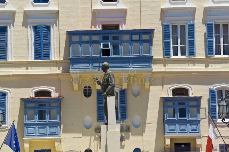 Malta, La Valletta, George Borg Olivier Castille Square-standbeeld stock foto