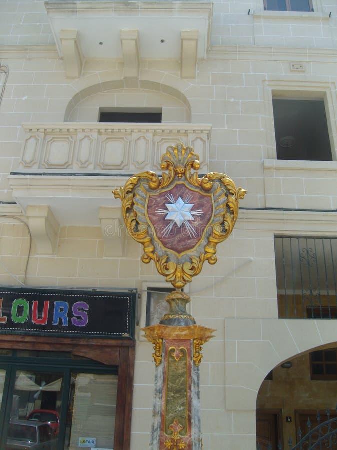 Malta La Valletta hexagram como decoración urbana imagen de archivo