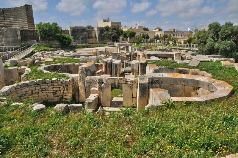 Malta, le tempie megalitiche di Tarxien fotografie stock libere da diritti