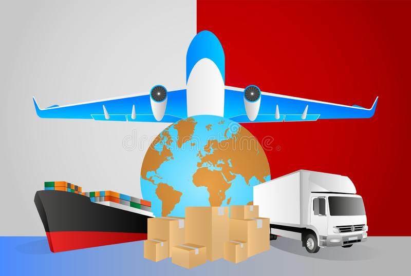 Malta logistics concept illustration. National flag of Malta from the back of globe, airplane, truck and cargo container ship. Vector illustration royalty free illustration