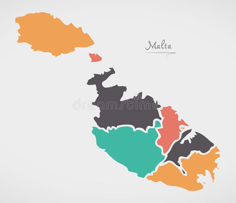 Malta Map with states and modern round shapes. Illustration royalty free illustration