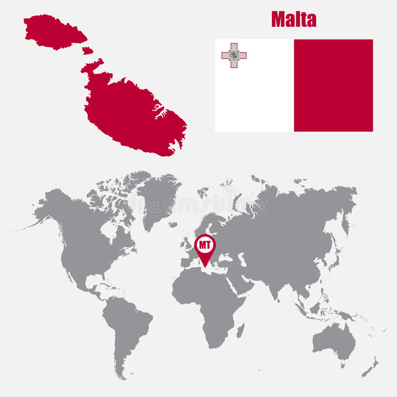 Malta map on a world map with flag and map pointer vector download malta map on a world map with flag and map pointer vector illustration stock gumiabroncs Gallery