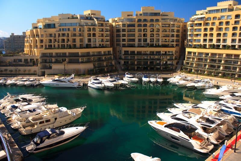 Malta marina St Julians stock image