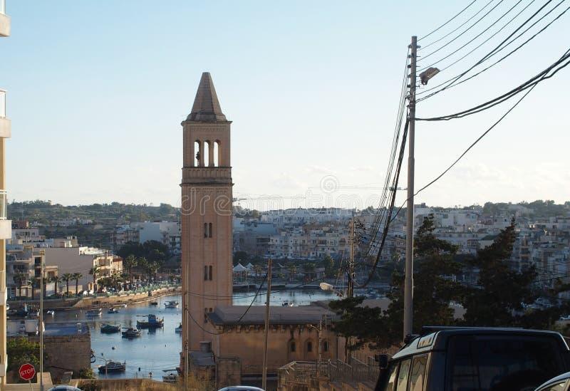 Malta, Marsaskala, St Anna kościół obraz royalty free