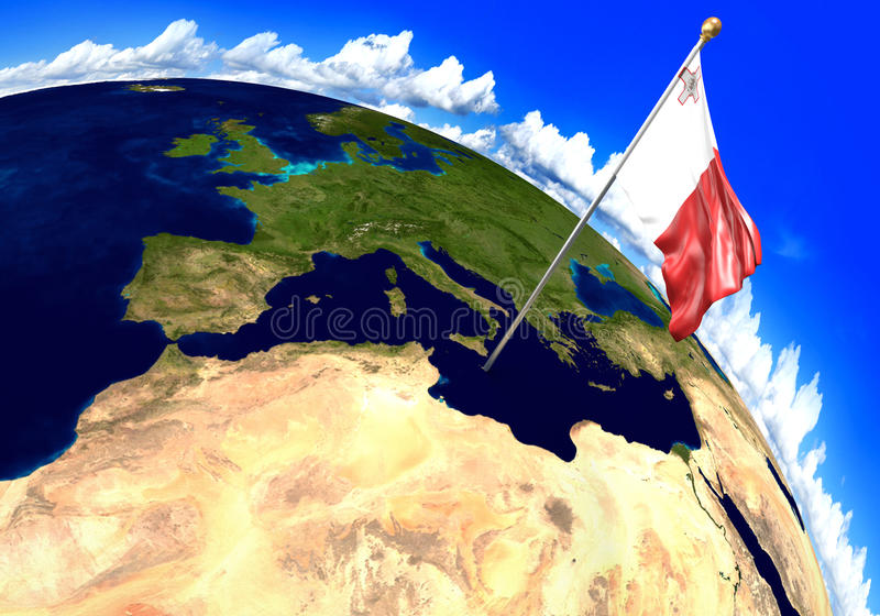 Malta national flag marking the country location on world map 3d download malta national flag marking the country location on world map 3d rendering parts gumiabroncs Images