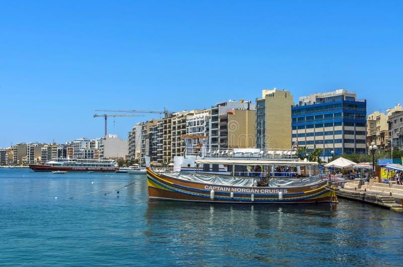Malta - panorama av Sliema royaltyfri foto