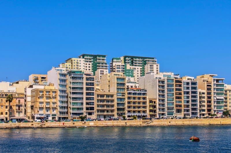 Malta - panorama av Sliema fotografering för bildbyråer