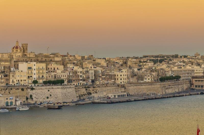 Malta - panorama av Valletta royaltyfria bilder