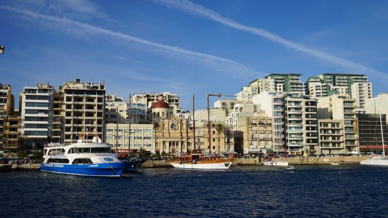 Malta - Panorama van Sliema royalty-vrije stock foto's