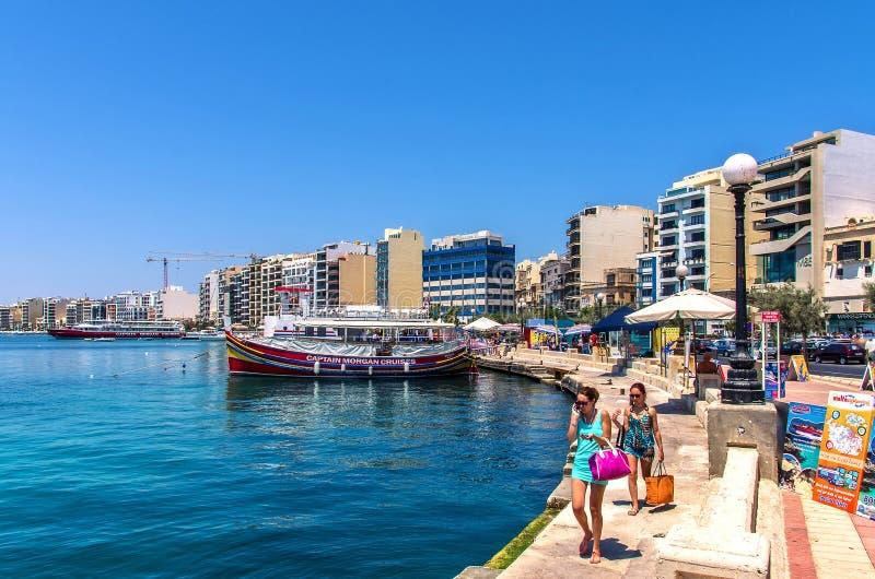 Malta - Panorama von Sliema lizenzfreie stockfotos
