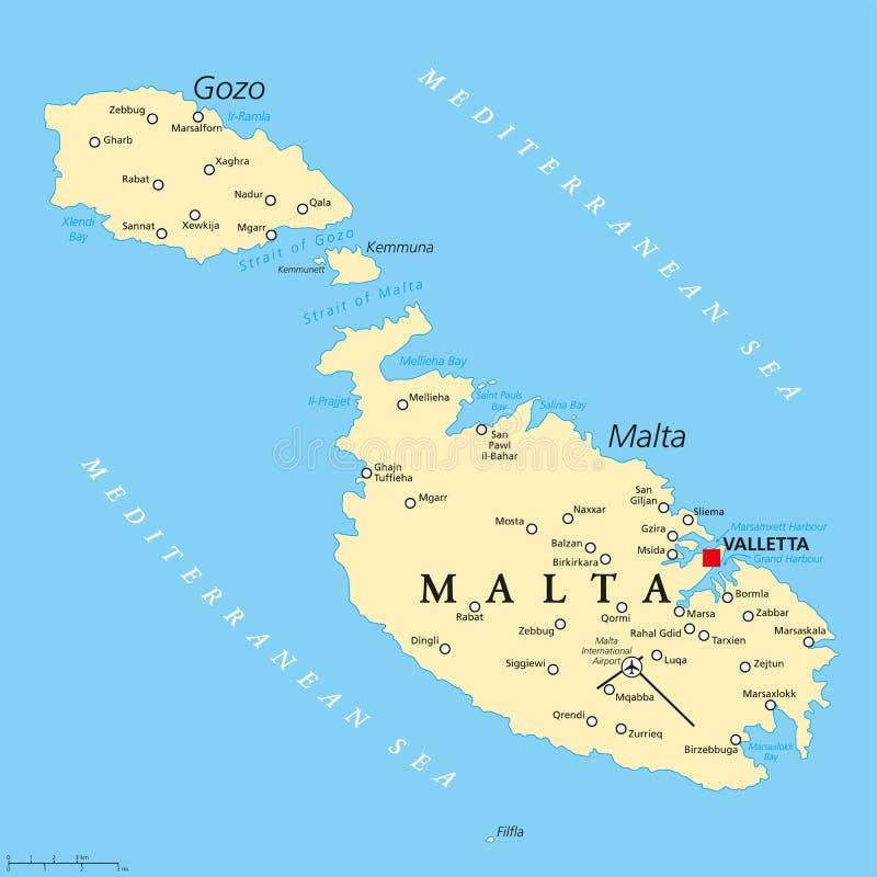 Malta politisk översikt vektor illustrationer