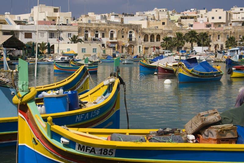 Malta - porto di Marsaxlokk fotografia stock libera da diritti