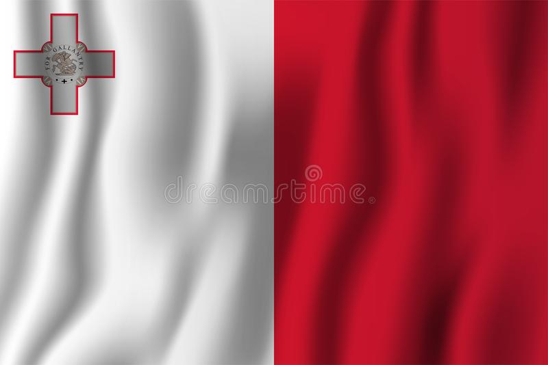 Malta realistic waving flag vector illustration. National country background symbol. Independence day vector illustration
