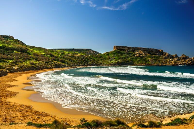 Malta Riviera plaża, Mgarr zdjęcie royalty free