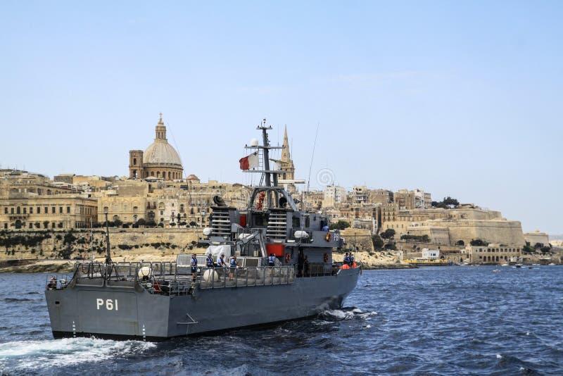 Malta's guard ship stock photography