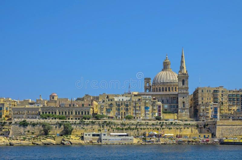 Malta sikter av Valletta arkivbild