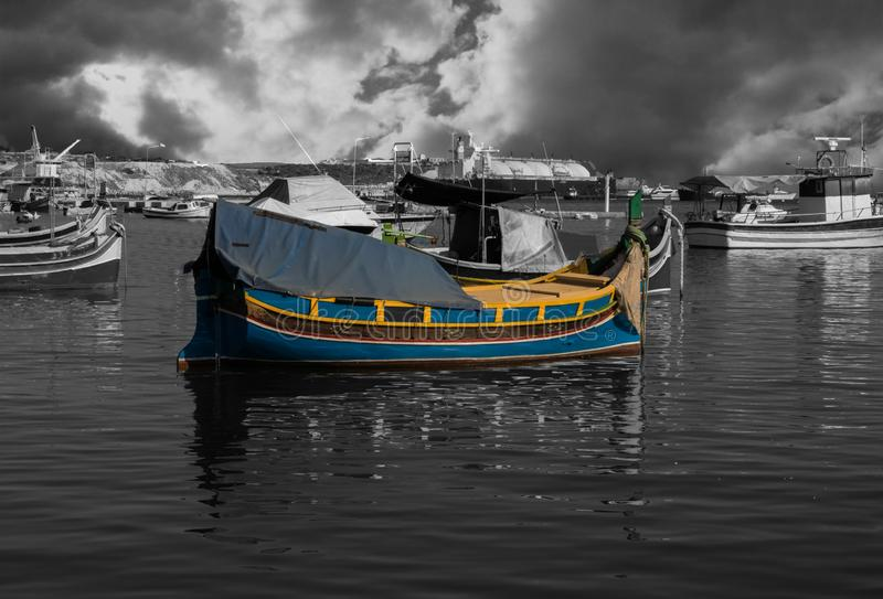 Malta Stara łódź rybacka fotografia royalty free