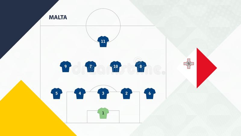 Malta team preferred system formation 5-4-1, Malta football team background for European soccer competition.  vector illustration
