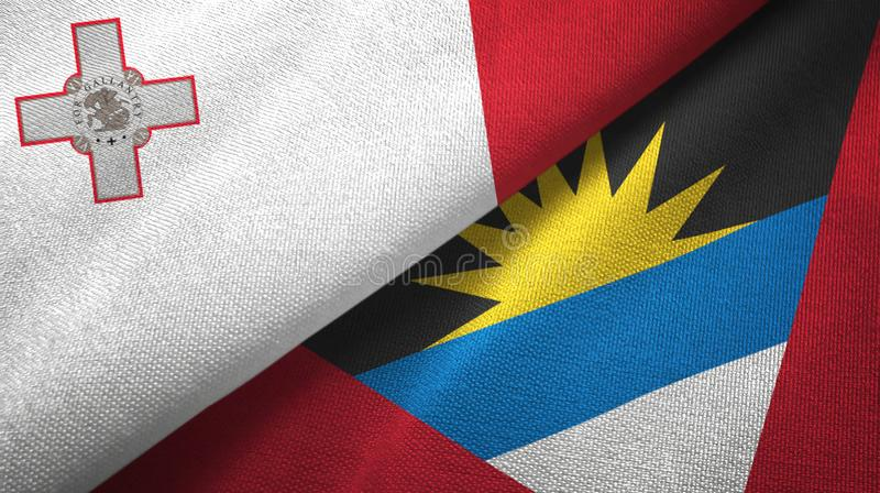 Malta- und Antigua und Barbuda-zwei Flaggentextilstoff, Gewebebeschaffenheit vektor abbildung