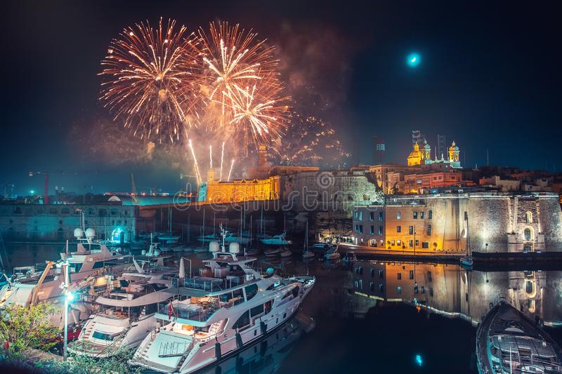 Malta Valletta night Festival of fireworks. Travel concept.  stock photos